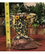 Primitive Handmade Glazed CLAY OWL Sculpture on Wood Base with Glass Eye... - $15.35