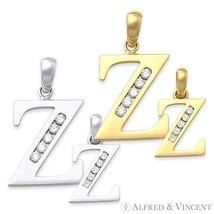 """Initial Letter """"Z"""" Cubic Zirconia CZ Crystal Symbol Necklace Pendant in 14k Gold - $53.40 - $169.87"""