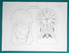 HOROLOGY  Equation Clock by Enderlin - 1815 Antique Print by A. REES - $16.20
