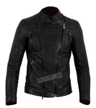 New Mens Biker Motorcycle Cafe Racer Black Leather Jacket - $64.34+