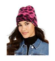 DKNY Fuzzy Animal Print Knit Beanie, Pink / Black - $8.99
