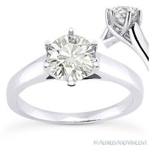 Round Brilliant Cut Moissanite 14k White Gold Trellis Solitaire Engageme... - £287.79 GBP+