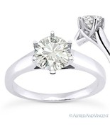 Round Brilliant Cut Moissanite 14k White Gold Trellis Solitaire Engageme... - €360,44 EUR+