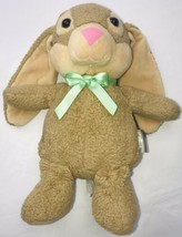 Hallmark BUNNY RABBIT Light Brown Tan Soft 12in Plush Pink Nose Green Sa... - $19.79