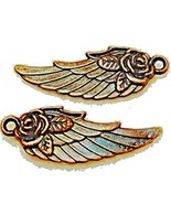 50Pcs. Wholesale Tibetan Antique Copper Angel Wing with Rose Flower Char... - $41.55