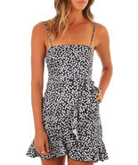 Ruffle Wrap Hemline Black Flourish Floral Sundress - £9.19 GBP