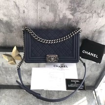 AUTH CHANEL DARK BLUE QUILTED MATTE CAVIAR MEDIUM BOY FLAP BAG RECEIPT RHW