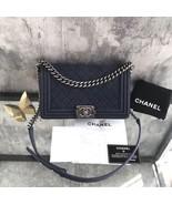 AUTH CHANEL DARK BLUE QUILTED MATTE CAVIAR MEDIUM BOY FLAP BAG RECEIPT RHW - $3,499.99