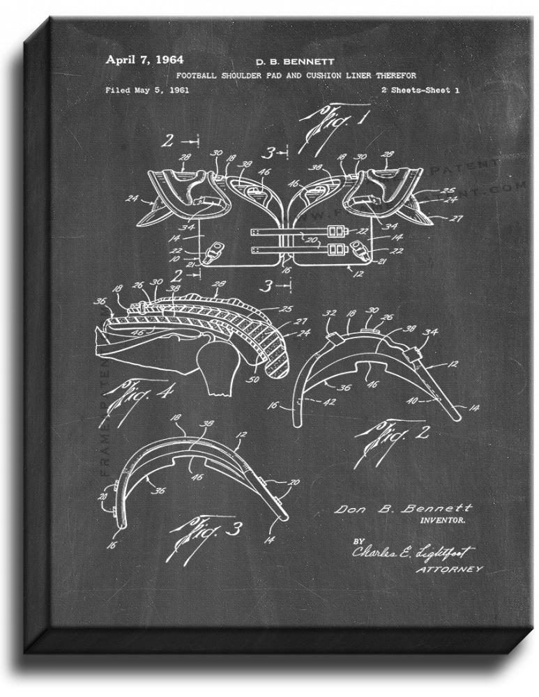 Primary image for Football Shoulder Pads Patent Print Chalkboard on Canvas