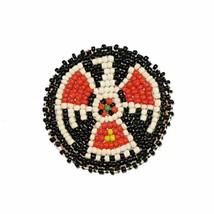 "Beaded T-Bird Rosettes 2"" black Bead Leather Crafts Medallion - $4.60"