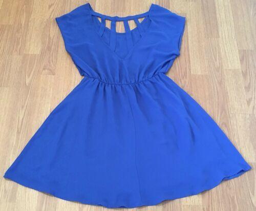 Lush Dress Size Medium Blue Cut Out Elastic Waistband