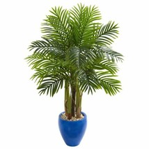 Luxury Multicolor  Palm Artificial Tree in Blue Planter - 4.5 Ft. - $238.99