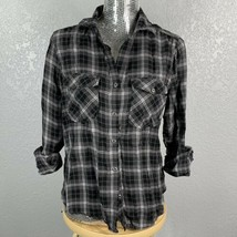 Billy T Plaid Button Down Womens Small Petite Corset Back Black Gray Pun... - $23.38