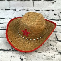 Vintage Childs OSFA Sheriffs Hat Straw Cowboy Red Star Pretend Play West... - $16.82