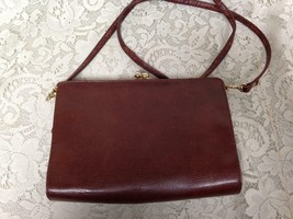 Vintage, Faux Snakeskin Leather, Burgundy Handbag-Crossbody 10in x 7in x 2in - $14.20