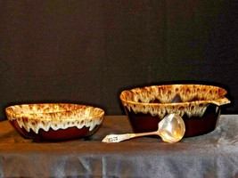 Brown Drip Glazed Frosted bowl with ladle and serving Dishes AA19-1673 Vintage
