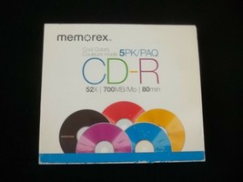 Memorex CD-R Cool Colors 52X 700MB 80 Min Open Pack of 5 - $5.89