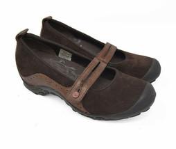 Merrell Plaza Bandeau Women's Sz 7 EU 37.5 Brown Suede Mary Jane Flats J46498 - $29.95