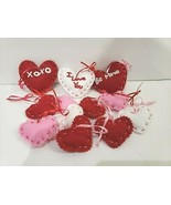 Valentines Day Hearts Felt Pink Red Heart Ornaments Decorations Set of 12 - $24.99