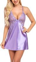Womens Lingerie V Neck Nightwear Satin Baby Doll Lingerie Set image 11