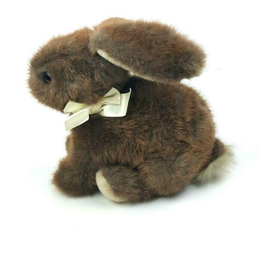 "Vintage Dakin 1986 Bunny Rabbit Sitting 9"" Brown Plush Stuffed Animal Floppy  image 3"