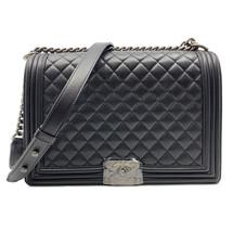 Chanel Black Caviar Quilted Ruthenium Tone Large Boy Flap Bag A67087Y833... - $7,649.00