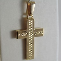 Yellow Gold Cross Pendant 750 18k, Square, finely worked, Made in Italy image 1