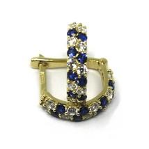 18K YELLOW GOLD MINI 10mm CIRCLE HOOPS EARRINGS, BLUE & WHITE CUBIC ZIRCONIA image 2