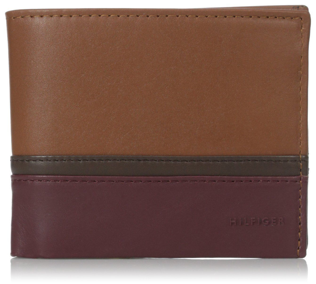 NEW TOMMY HILFIGER MEN'S LEATHER BIFOLD WALLET ID CARD SADDLE OXBLOOD 31TL13X041
