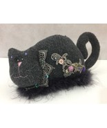 Gray Felt Kitty Cat Decorative Stuffed Plush Lace Gem Button Fur Home Decor - $20.09