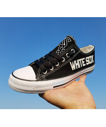 Chicago white sox shoes black white sox sneakers baseball fashion canvas... - $59.99