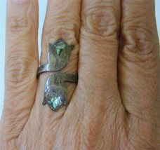 Vintage Mexican Sterling Silver Abalone Inlay Ring Adjustable Wrap Tulip... - $34.64