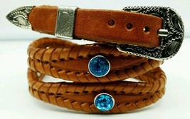 NEW HATBAND Scalloped TAN Braided Leather w/ BLUE CRYSTALS & Buckle Set Hat Band - $21.71