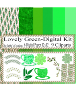 Lovely Green Digital Kit-Digtial Paper-Art Clip-Gift Tag-Jewelry-T shirt... - $5.00
