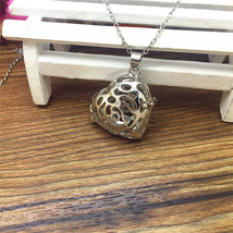 GUN METAL GRAY HEART AROMA DIFFUSER LOCKET NECKLACE >> COMBIN SHIPPING &lt - $5.89