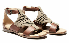 Womens Timberland Cherrybrook Sandals - Brown Leather/Olive Canvas - $99.99