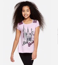 Justice Girl/'s Size 10 NEW YORK Flip Sequin Destination Tee New with Tags