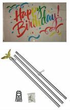 3x5 Happy Birthday Rainbow Ribbons Flag Aluminum Pole Kit Set 3'x5' - $23.88