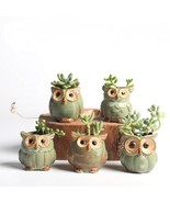 Flower Pot 5pcs Set Cartoon Owl Shaped Succulents Fleshy Plant Ceramic F... - $19.62