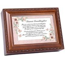 Cottage Garden Dearest Granddaughter Woodgrain Music Box Plays Light Up ... - $48.78