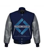 Navy Blue Varsity Baseball Genuine Leather Sleeve Letterman College Wool... - $94.99
