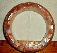 VTG INLAY MOTHER OF PEARL ABALONE ROSE GLOWINK PINK BANGLE BRACELET NECK... - $237.99
