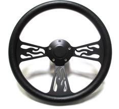 1949 - 57 Ford Truck Steering Wheel Black Billet Flamed Design WITH ADAPTER/HORN - $159.99