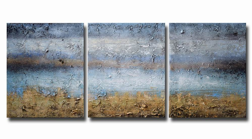 """ARTLAND Modern 100% Hand Painted Abstract Oil Painting on Canvas """"Blue Lake"""" 3-P"""