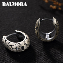 BALMORA 990 Pure Silver Cloud Hollow Clip Earrings for Women Gift Retro ... - $37.58