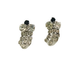 Vintage Rhinestone Dangle Chandelier Clip On Earrings Black Rhinestone T... - $9.49