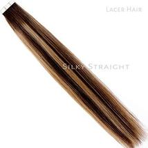 Lacerhair Tape in Balayage Natural Hair Extensions Straight Chocolate Brown to S image 5