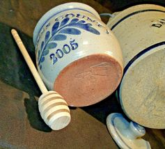Daviess County Westerwald Stoneware Honey Pot Lid Stir Stick & Bowl with handle image 4