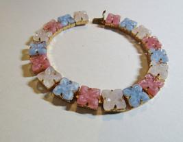 "Vintage CZECHOSLOVAKIA Czech Blue Pink White Glass Molded Flowers 7.25"" ... - $67.32"