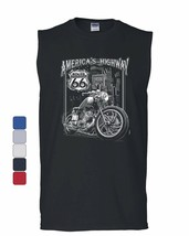 America's Highway Muscle Shirt Route 66 MC Motorcycle Chopper Bobber Sle... - $11.19+